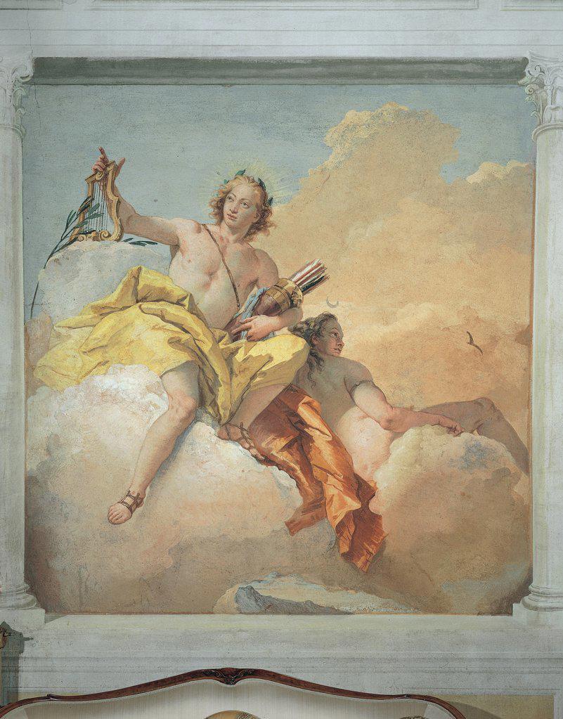Apollo and Diana, by Tiepolo Giambattista, 1757 - 1757, 18th Century, fresco. Italy, Veneto, Vicenza, Villa Valmarana ai Nani. Whole artwork. Apollo and Diana clouds bow sandals quiver lyre mantle: cloak. : Stock Photo