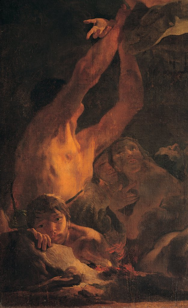 Madonna of Carmelo and the Souls of Purgatory, by Tiepolo Giambattista, 1721 - 1727, 18th Century, canvas. Italy, Lombardy, Milan, Brera Art Gallery. Detail. Chest male bust with arms outstretched face. : Stock Photo
