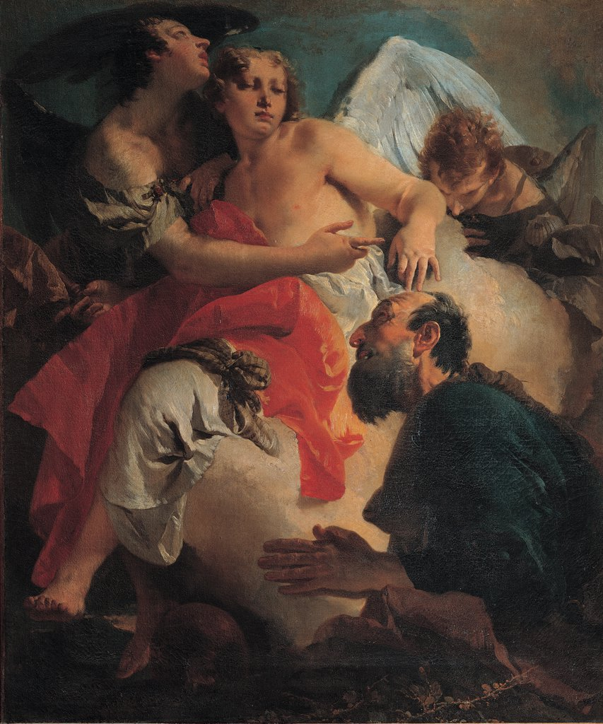 Stock Photo: 1899-31861 Abraham Praying before the Three Angels, by Tiepolo Giambattista, 1731 - 1732, 18th Century, oil on canvas. Italy, Veneto, Venice, Scuola Grande di San Rocco. Detail. Angel red drape: cloth man beard Abraham.