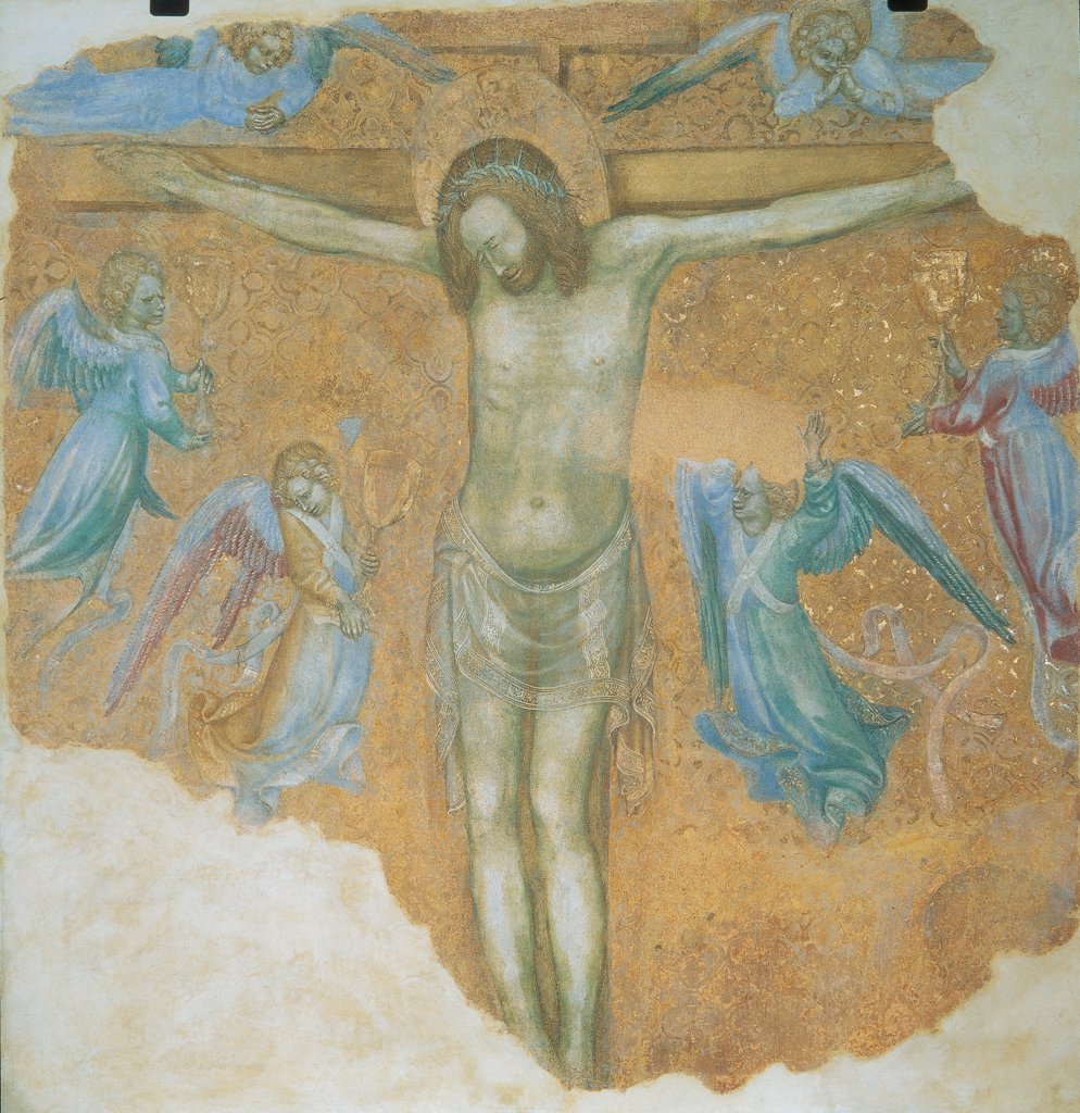 Stock Photo: 1899-31871 Crucifixion, by probably Michelino da Besozzo, 1417, 15th Century, fresco. Italy, Lombardy, Monza, Brianza, Cathedral. Detail. Cross crucifixion Jesus Christ halo: aureole crown of thorns angels seraphs: seraphim cherubim wings dresses: robes: garments veils cartouches: scrolls pink light blue: azure gold background.