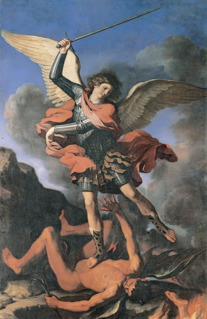 St Michael the Archangel, by Barbieri Giovan Francesco known as il Guercino, 1644, 17th Century, canvas. Italy, Marche, Fabriano, Ancona, San Nicola Church. Whole artwork. Archangel Michael warrior soldier armor: cuirass red mantle: cloak sword outspread wings shoes man crushed defeated Satan demon clouds rocks red white blue black gray. : Stock Photo