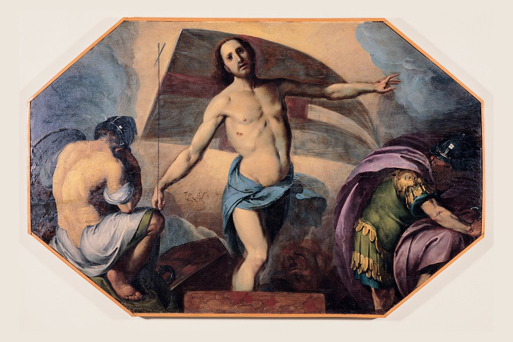 Resurrection, by school Crespi Giovan Battista detto il Cerano, 17th Century, Unknow. Italy, Lombardy, Milan, Santa Maria Assunta in Vigentino Church. Whole artwork. Resurrection Christ resurrected banner: standard: flag soldiers guards blue yellow pink. : Stock Photo