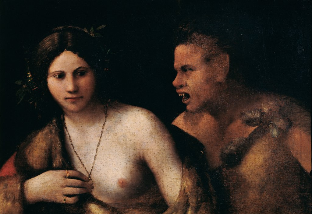 Nymph and Satyr, by Luteri Giovanni know as Dosso Dossi, 16th Century, canvas. Italy, Tuscany, Florence, Palazzo Pitti, Palatine Gallery. Whole artwork. Nymph nude breast Satyr teeth necklace chain torso face visage. : Stock Photo