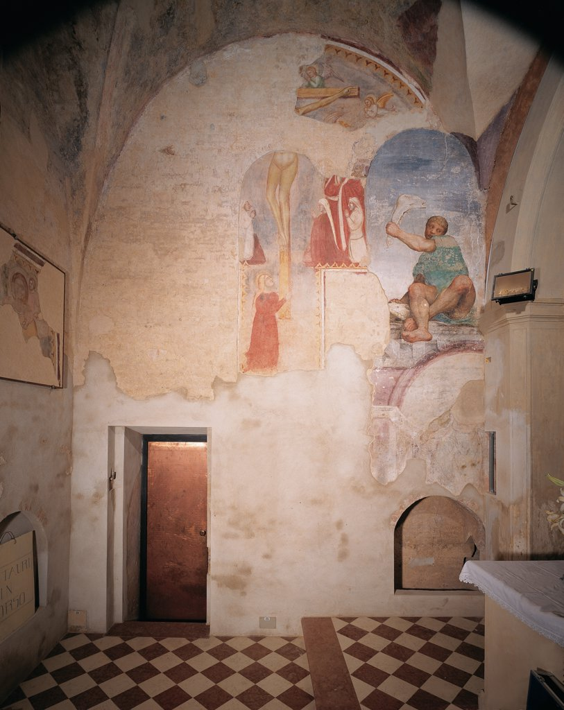 Frescoes in the old sacristy, by Da Ponte Jacopo know as Bassano, 1537 - 1539, 16th Century, fresco. Italy, Veneto, Cittadella, Padua, Cathedral. Front view of the frescoed wall to the right of the altar. : Stock Photo