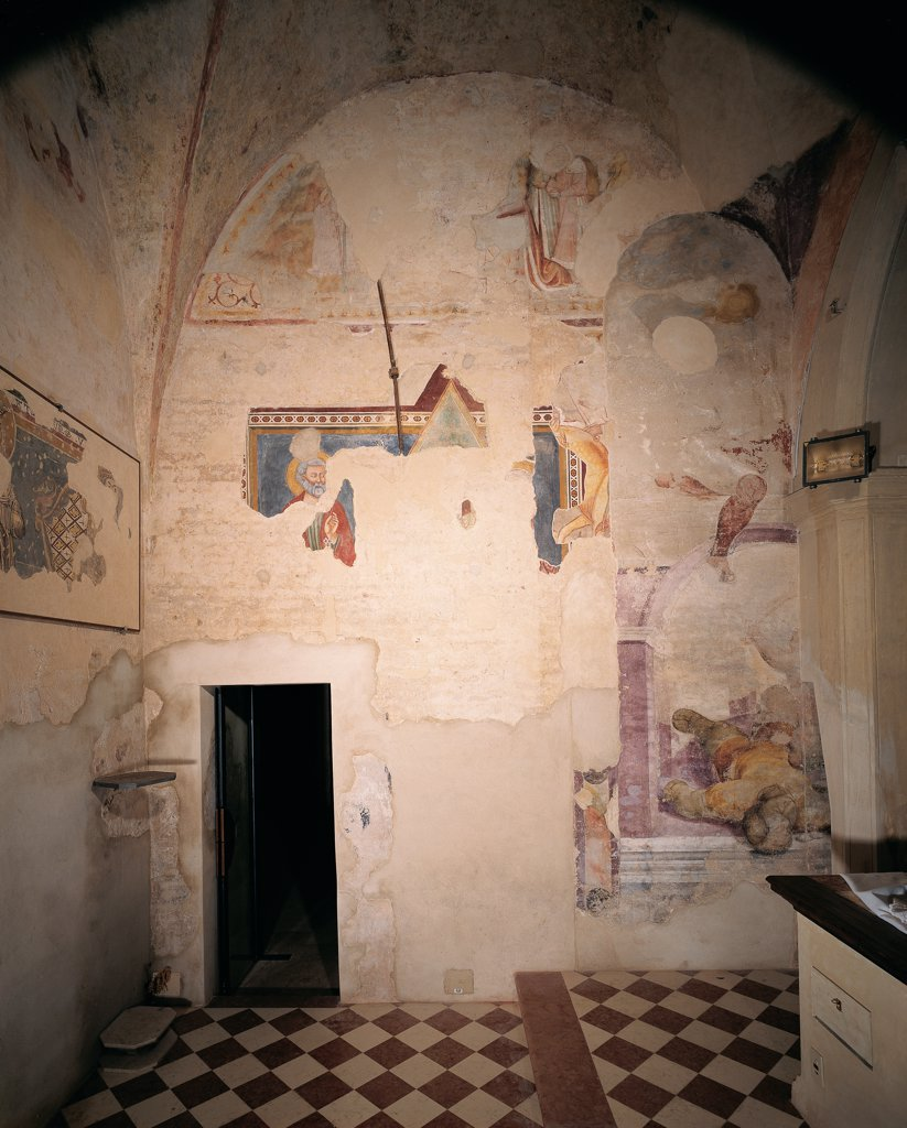Frescoes in the old sacristy, by Da Ponte Jacopo know as Bassano, 1537 - 1539, 16th Century, fresco. Italy, Veneto, Cittadella, Padua, Cathedral. Front view of the frescoed wall to the left of the altar. : Stock Photo