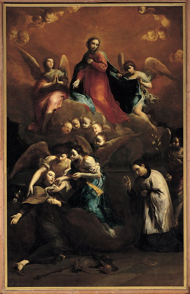 Stock Photo: 1899-31983 The Ecstasy of St Stanislaus Kostka, by Crespi Giuseppe Maria know as Spagnuolo (or Spagnolo), 1728 - 1729, 18th Century, oil on canvas. Italy, Emilia Romagna, Ferrara, The Gesu church. Whole artwork. Ecstasy of St Stanislaus Kostka angels little angels young woman Virgin vision.