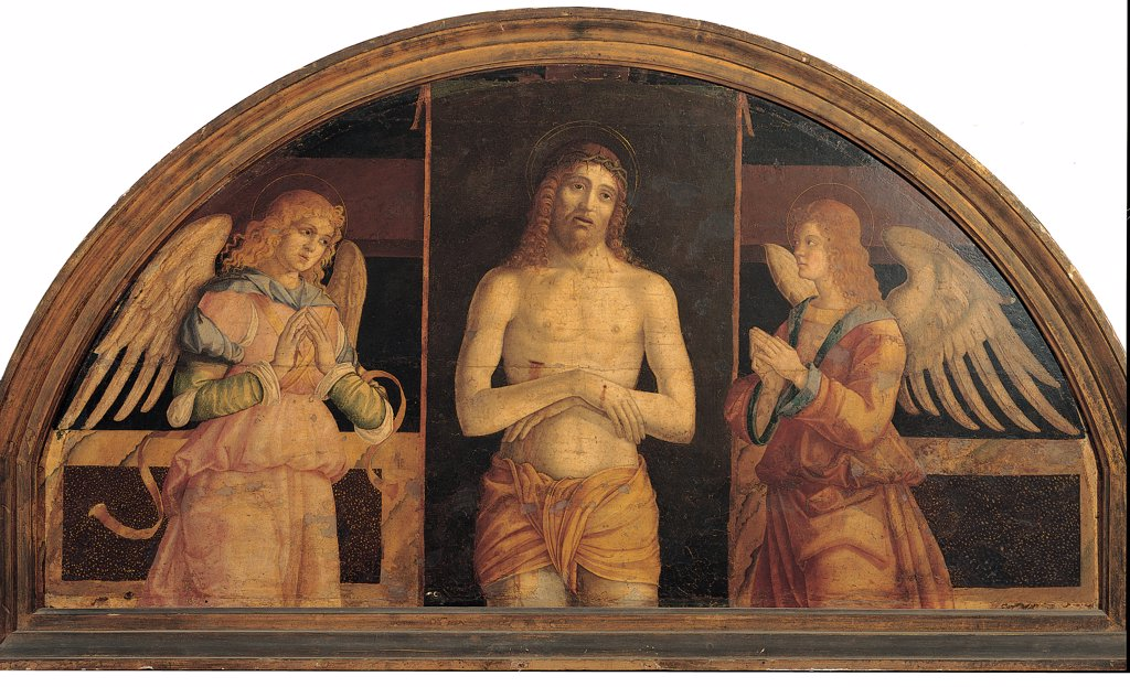 Christ in the Sepulcher with Two Angels, by Venetian Artist, 1500 - 1525, 16th Century, oil on panel transferred to canvas. Italy, Lombardy, Milan, Brera Art Gallery. Whole artwork. Cymatium: cimasa Christ wounds Passion man angels wings scrolls clasped hands. : Stock Photo