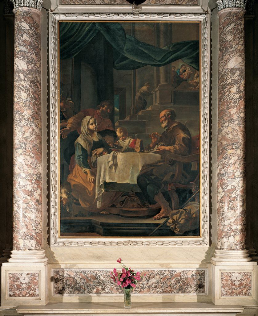 The Holy Family Supper, by Abbiati Filippo, 17th Century, oil on canvas. Italy, Lombardy, Paderno Franciacorta, Brescia, parish church. Whole artwork. Supper Holy Family table Virgin Mary Joseph Jesus Christ Child stairway cloth columns armchair episode in the background bed halos: aureoles. : Stock Photo