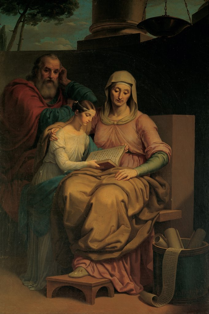 The Holy Virgin Mary with St Anne and St Joachim, by Ayres Pietro, 1840, 19th Century, oil on canvas. Italy, Piemonte, Moretta, Cuneo, Beata Vergine del Pilone Sanctuary. Whole artwork. Madonna Virgin Mary St Anne St Joachim drapery: draping veil holy book footrest high-backed chair brazier column tree light shadow. : Stock Photo