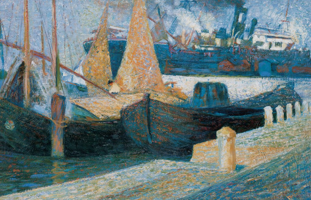 Stock Photo: 1899-32055 Boats in Sunlight, by Boccioni Umberto, 1907, 20th Century, oil on canvas. Private collection. Whole artwork. Mooring dock boats sails ship transatlantic.