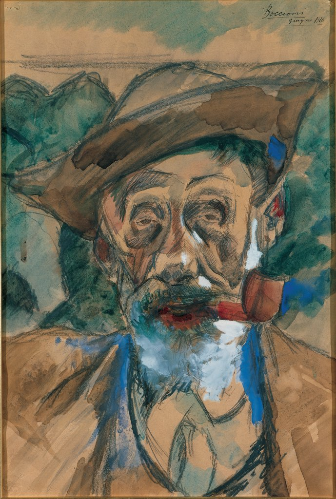 Man with a Pipe, by Boccioni Umberto, 1916, 20th Century, watercolor. Italy, Lombardy, Milan, Private collection. Whole artwork. Man face old beard hat pipe background bushes: shrubs. : Stock Photo