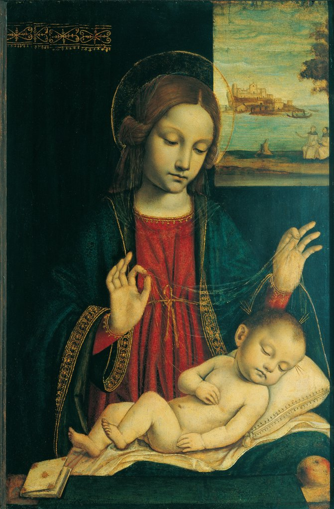 Stock Photo: 1899-32084 Madonna and Sleeping Child, by Ambrogio da Fossano known as Bergognone, 1512 - 1515, 16th Century, oil on panel. Italy, Lombardy, Milan, Brera Art Gallery. Whole artwork. Madonna with Child holy book red dress: robe: garment blue mantle: cloak halos: aureoles transparent veil cushion linen window landscape view small human figures ships sea-shore boats building in the distance decorat.