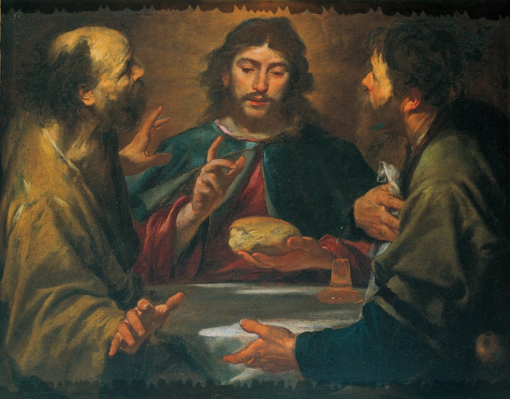 The Supper in Emmaus, by Assereto Gioacchino, 17th Century, oil on canvas. Private collection. Whole artwork. Supper at Emmaus Christ disciples bread Eucharist light bottle wine wonder. : Stock Photo