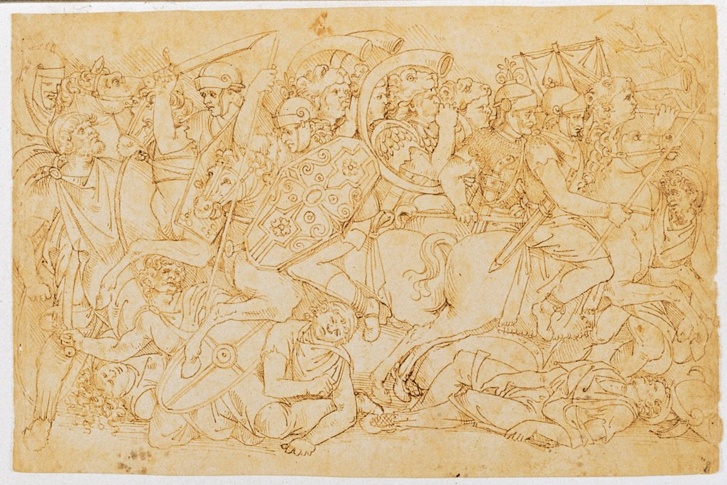 Stock Photo: 1899-32088 Trajan's Battle, by Aspertini Amico, 1496, 15th Century, pen and brown ink. Italy, Emilia Romagna, Bologna, National Gallery of Art, Drawings and Prints Cabinet. Whole artwork. Trajan's battle drawing soldiers horses horns helms shields armors: cuirasses swords lances: spears bugles.