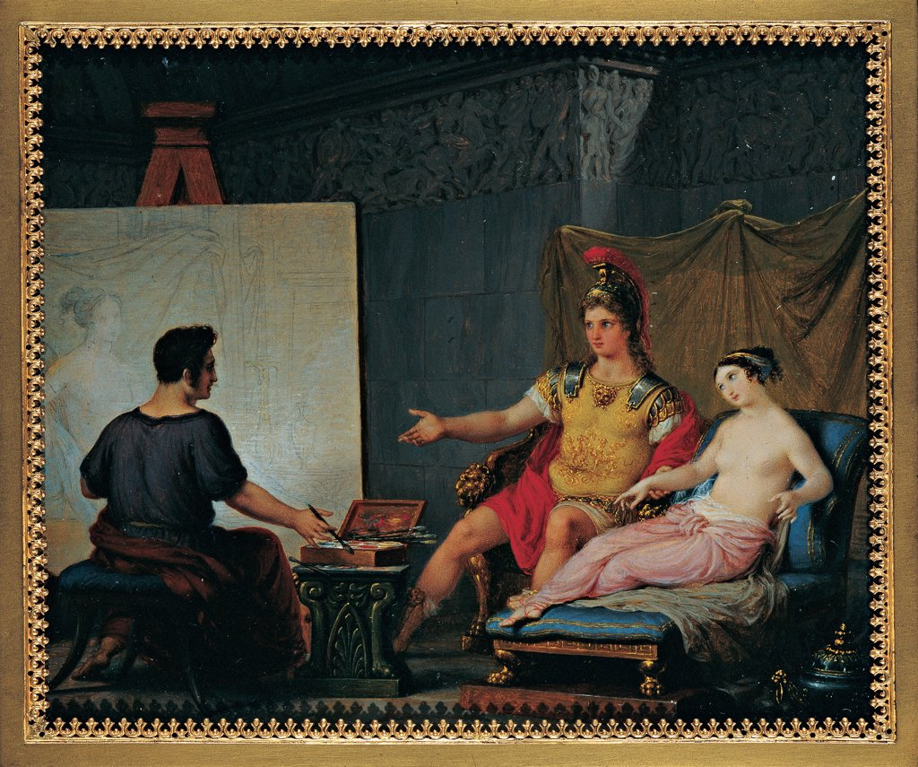 Apelles Painting Campaspe in the Presence of Alexander the Great, by Bagatti Valsecchi Pietro, 1832, 19th Century, tempera on ivory. Italy, Lombardy, Milan, Private collection. Whole artwork. Apelles painter portrait painting picture leader Alexander the Great plumed helmet armor: cuirass girl Campaspe pink red yellow black white. : Stock Photo