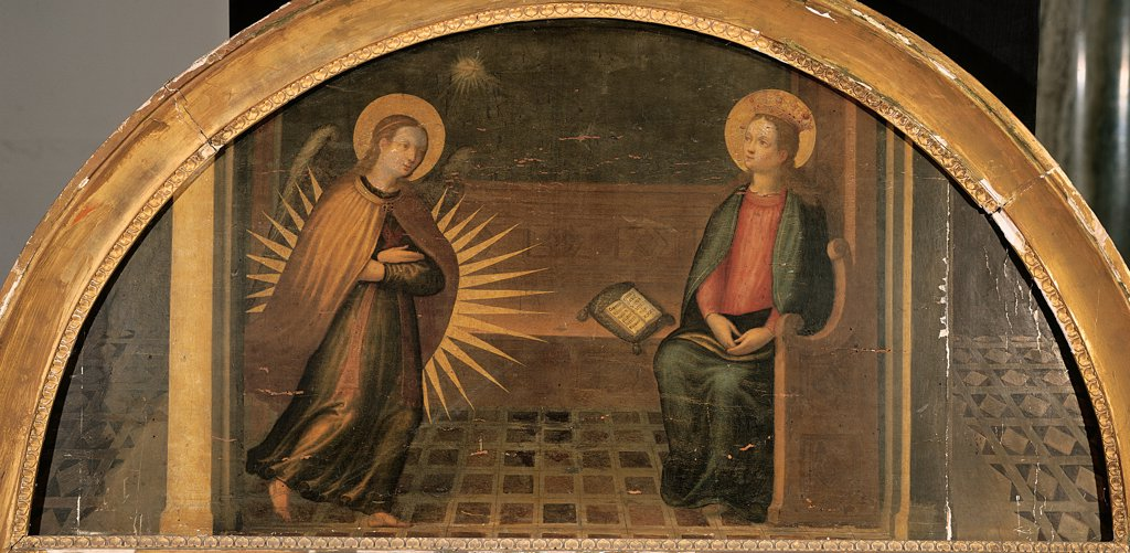 Stock Photo: 1899-32130 Annunciation, by probably Artista fiorentino, 17th Century, oil on panel. Italy, Lombardy, Milan, Brera Art Gallery. Whole artwork. Lunette Annunciation Virgin Annunciated bench book angel announcing rays light Archangel Gabriel floor pictures: paintings perspective.