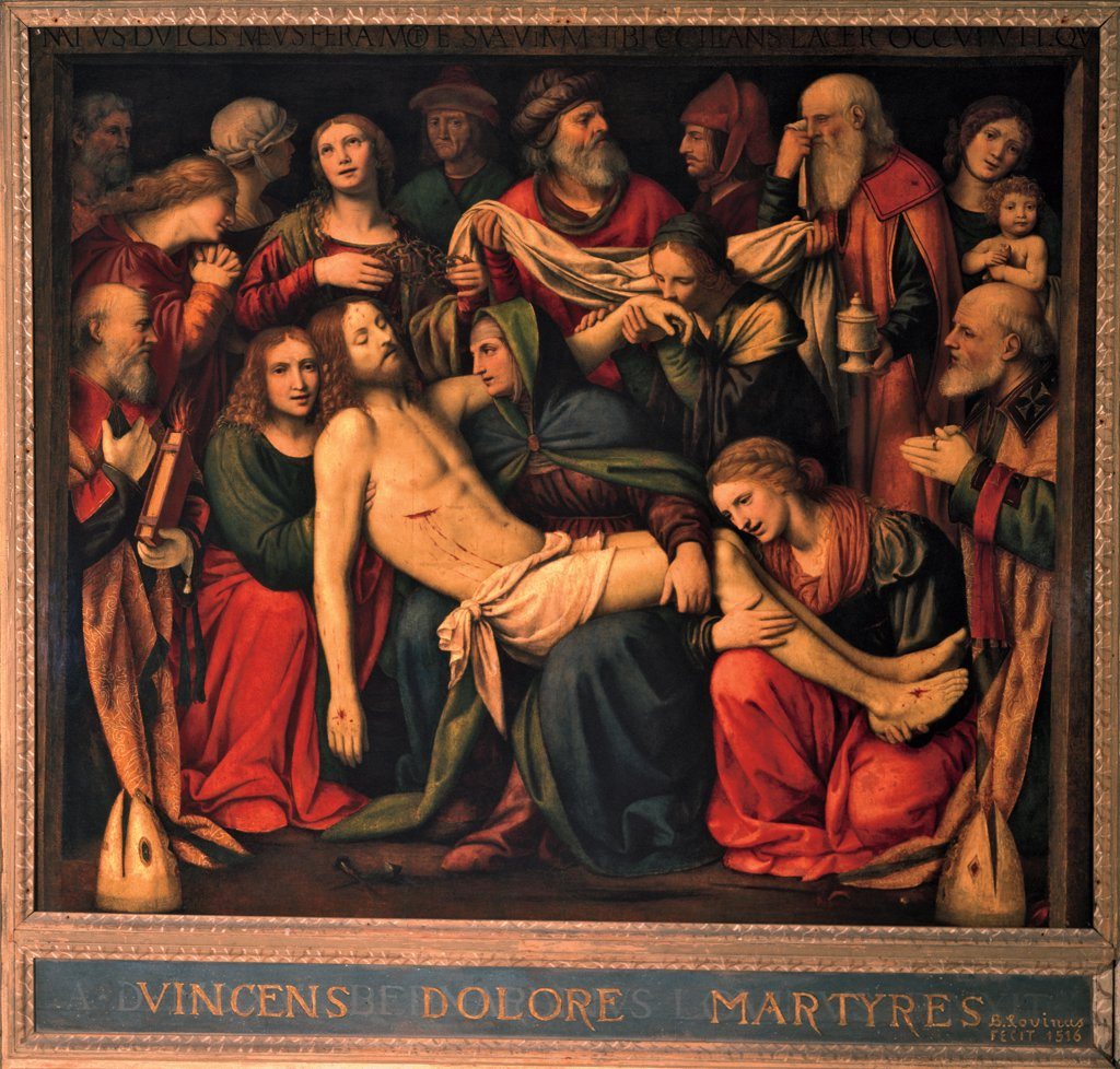 The Deposition, by Luini Bernardino, 1516, 16th Century, fresco. Italy, Lombardy, Milan, San Giorgio al Palazzo Church, Santissimo Sacramento chapel. Detail. Christ red mantle: cloak Jesus lower part deposition group pain Madonna Mary St John the Evangelist Magdalene Nicodemus group of onlookers: bystanders witnessing the scene. : Stock Photo
