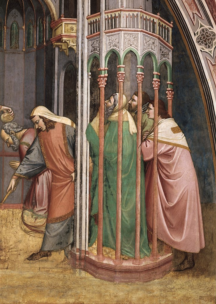 Episode No. 2 of the Stories of St James. Baptism of Hermogenes, by Avanzi Jacopo, 1372 - 1379, 14th Century, fresco. Italy, Veneto, Padua, St Anthony Basilica, San Giacomo Chapel, background wall, upper band, first lunette from the left. Detail of three figures of onlookers. bystanders on the right under a porch. portico. After restoration. : Stock Photo