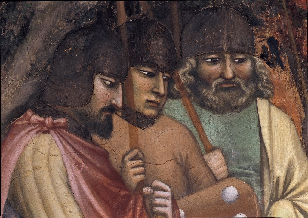 Stock Photo: 1899-32154 Episode No. 3 of the Stories of St James. Martyrdom of St James, by Avanzi Jacopo, 1372 - 1379, 14th Century, fresco. Italy, Veneto, Padua, St Anthony Basilica, San Giacomo Chapel, background wall, upper band, central lunette. Episode No. 3 of the Stories of St James of Martyrdom of St James. Detail of right episode, martyrdom of St James and the scribe Iosa, the faces of the three soldiers on the left. After restoration. Helmet lance. spear fac.