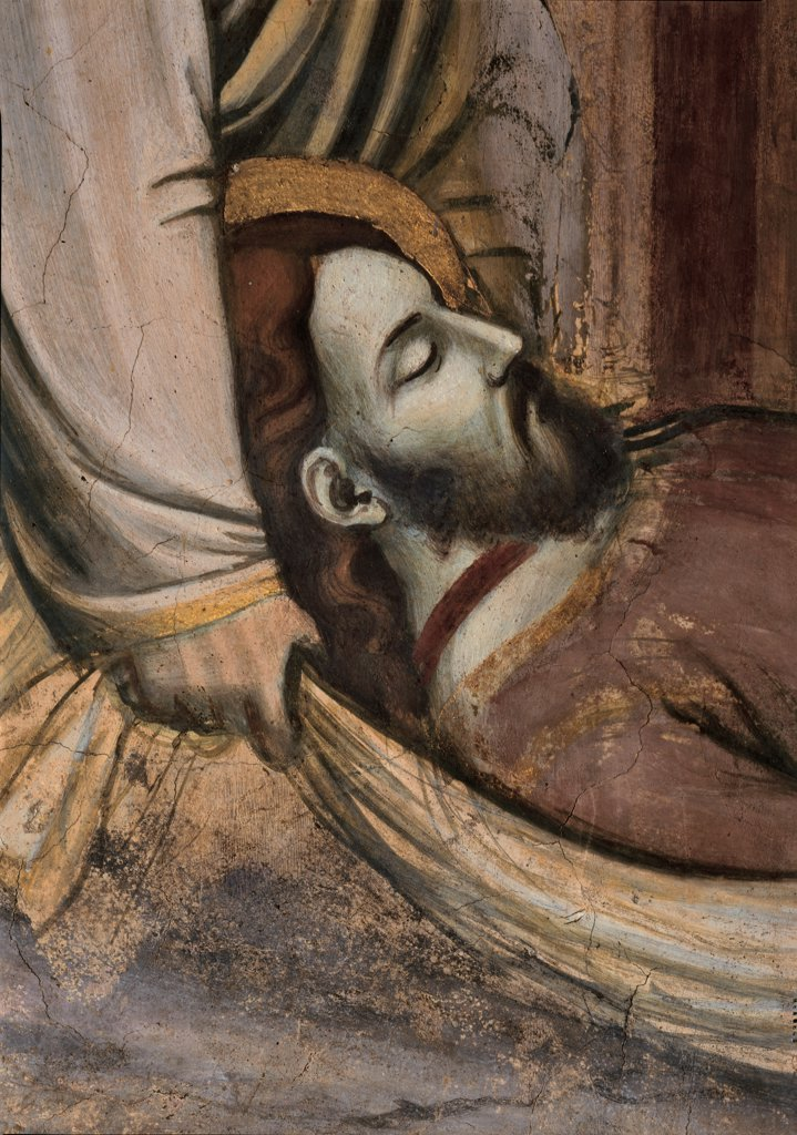 Stock Photo: 1899-32157 Stories of St James Episode no. 4 of The Body of St James is Carried to the Castle of Lupa, Spain, and the Burial of the Saint, by Avanzi Jacopo, 1372 - 1379, 14th Century, fresco. Italy, Veneto, Padua, Basilica del Santo, San Giacomo Chapel, bottom wall, upper order, right lunette. Episode No. 4 of the Stories of St James of arrival of the body of St James at Lupa Castle in Spain and burial of the saint. Detail of face of the saint. After restoration. Beard halo. aureole hand shroud.