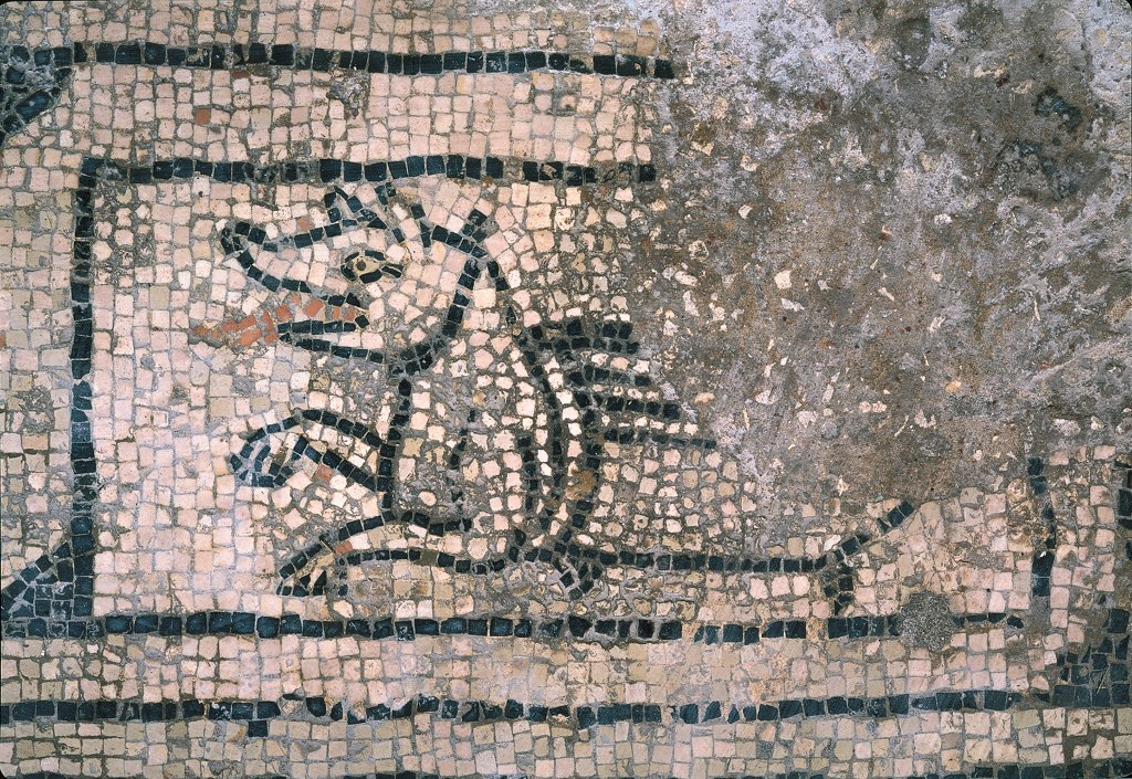 Dragon, by Unknown, 11th - 12th Century, mosaic. Italy, Lombardy, San Benedetto Po, Mantua, Polirone Abbey. Whole artwork. Animal dragon monster. : Stock Photo