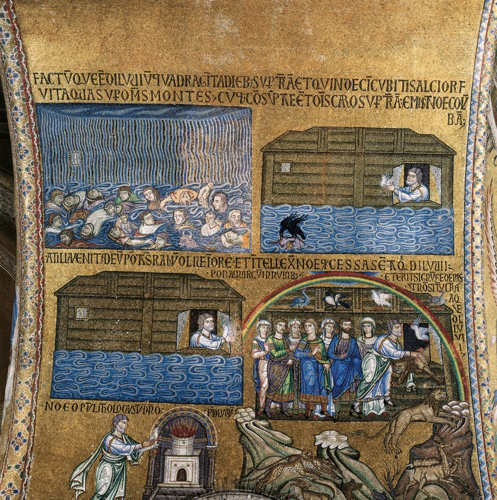 Stock Photo: 1899-32185 Cupola of the Creation, by Unknown, 12th Century, mosaic. Italy, Veneto, Venice, St Mark's Basilica, atrium, North vault. Detail of scenes the Deluge. the Flood, the crow and the dove and the rainbow..