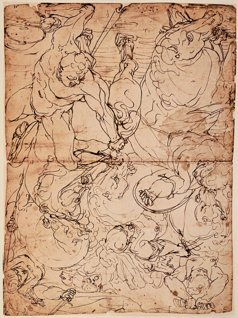 Stock Photo: 1899-32255 Nude Armed Men Fighting, by Cambiaso Luca, 16th Century, pen on paper. Italy, Liguria, Genoa, Private collection. Whole artwork. Drawing human figures anatomies battle: fight arms: weapons battle: engagement.