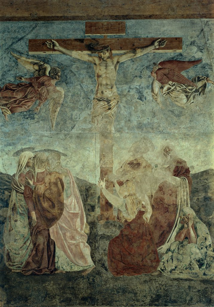 Stock Photo: 1899-32266 Crucifixion, by Andrea di Bartolo di Simone known as Andrea del Castagno, 1445 - 1450, 15th Century, fresco torn down and repositioned in situ. Italy, Tuscany, Florence, former St Apollonia Convent. Whole artwork. Crucifixion Christus Patiens pious women Madonna sustained Mary Magdalene kneeling Nicodemus angels.