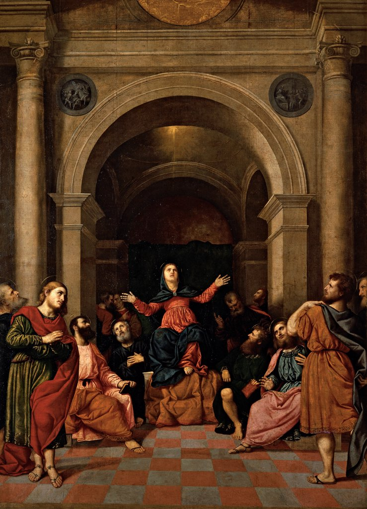 Pentecost, by Bordon Paris, 1520 - 1530, 16th Century, oil on canvas. Italy, Lombardy, Milan, Brera Art Gallery. Whole artwork. Pentecost Madonna enthroned twelve apostles wonder open arms holy building round arch semi columns tondos floor perspective. : Stock Photo