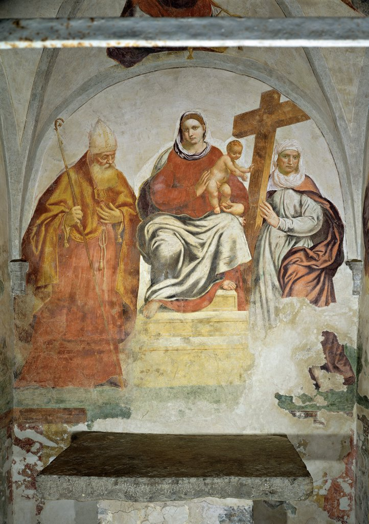 Stock Photo: 1899-32283 Madonna and Child with Saints, by Bordon Paris, 1549 - 1549, 16th Century, fresco. Italy, Veneto, Trichiana Pialdier, Belluno, Santa Croce Oratory, Trichiana Pialdier. Whole artwork. Madonna and Child with saints. Throne steps drapery: draping cross pastoral: crosier staff mitre: miter bishop.