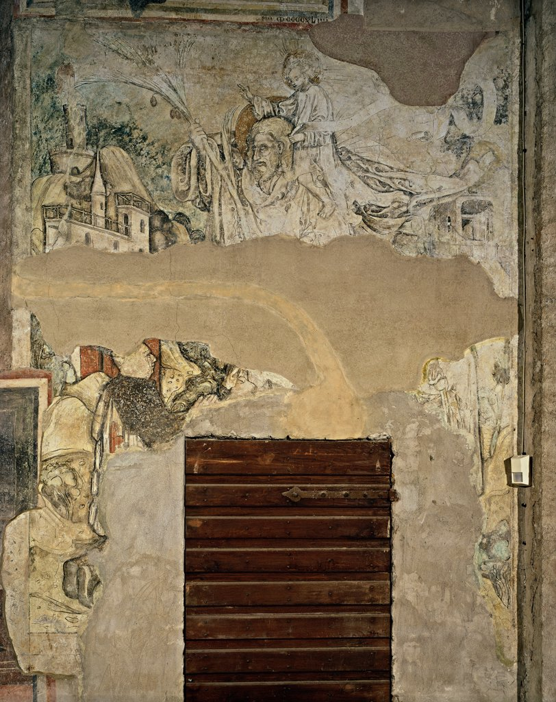 Stock Photo: 1899-32365 St Christopher, a donor and a Monaco (St Anthony the Abbot), by field Bembo Bonifacio, 1447 - 1477, 15th Century, fragmentary fresco. Italy, Lombardy, Brescia, Santa Maria del Carmine Church. Whole artwork. Fresco in a poor state of preservation St Christopher, a donor and a Monaco (St Anthony Abbot) castle fortress on background.