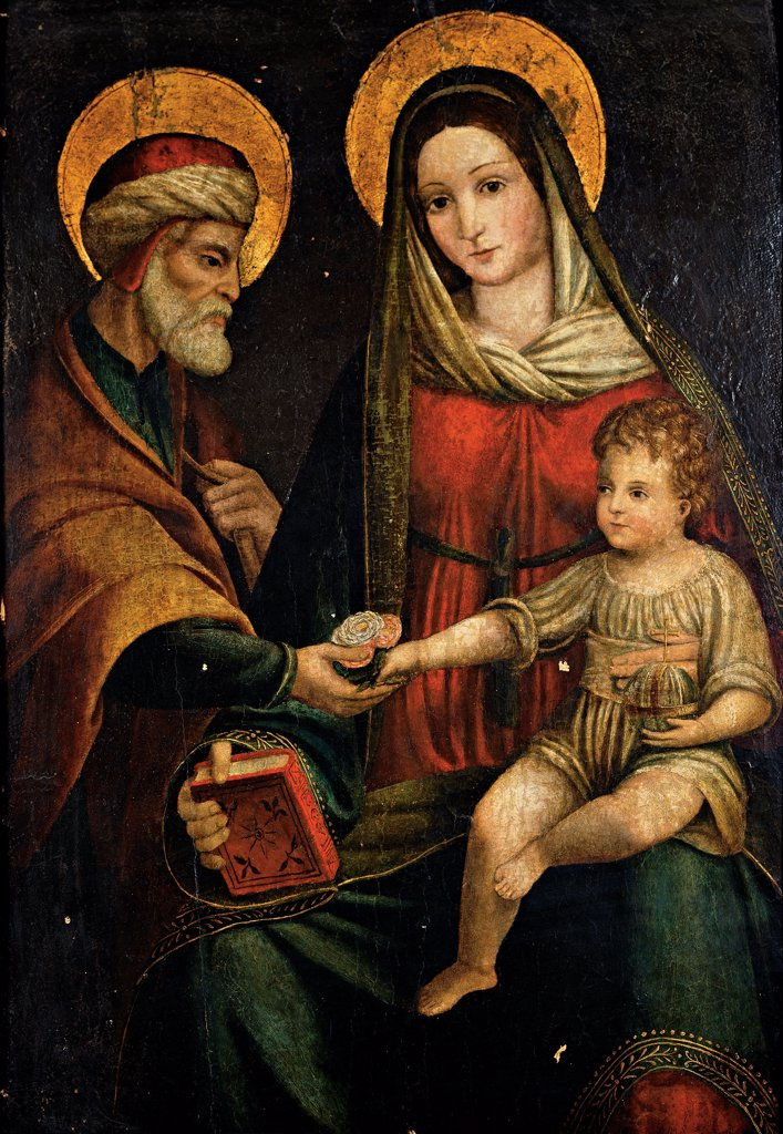 Holy Family, by Emilian Artist, 16th Century, oil on panel. Italy, Lombardy, Milan, Brera Art Gallery. Whole artwork. Holy Family Madonna Virgin Mary Child Jesus: Baby Jesus: Christ Child St Joseph red dress: garment yellow gold halo: aureole book. : Stock Photo