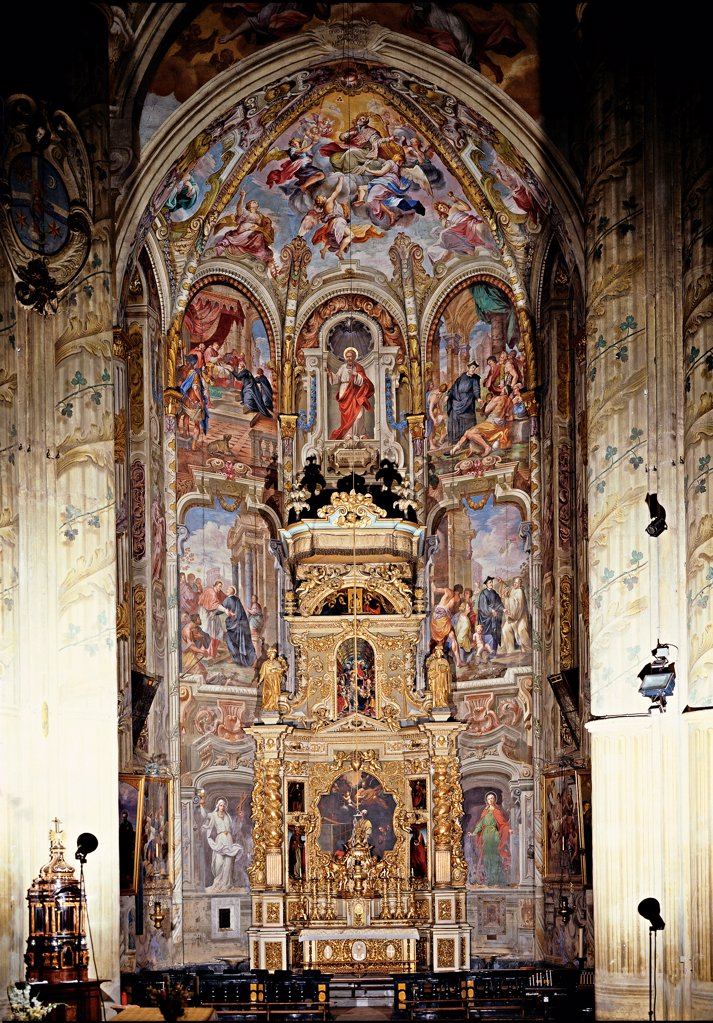 Stock Photo: 1899-32378 Scenes from the Life of St Philip, by Bianchi Federico, 17th Century, Unknow. Italy, Piemonte, Asti, Cathedral. Detail. View of the chapel three superimposed order panels episodes: scenes life St Philip vault altar.