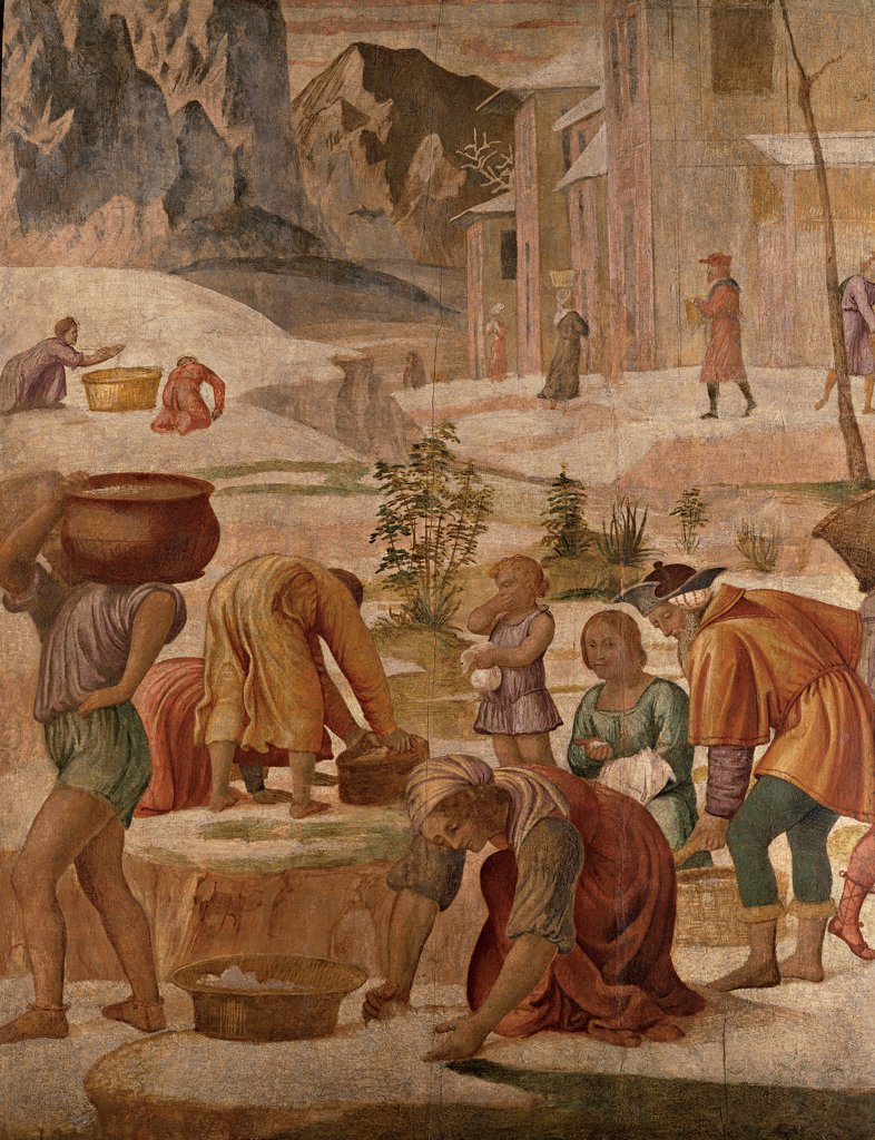 Stock Photo: 1899-32390 The Gathering of the Manna, by Luini Bernardino, 1521 - 1523, 16th Century, fresco transferred to panel. Italy, Lombardy, Milan, Brera Art Gallery. Detail. Men women Hebrews: Jews: Israelites baskets gathering manna miracle houses buildings rocks mountains.