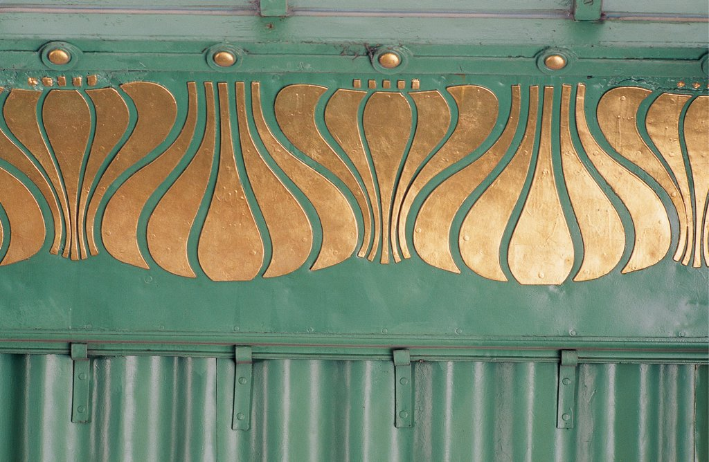 Stock Photo: 1899-32423 Metro Station in Hietzing, Vienna, by Wagner Otto, 1898 - 1898, 19th Century, Unknow. Austria, Wien, Schonbrunner Schlossstrasse. Decorative detail of the entrance in wrought iron of frieze below the barrel vault.