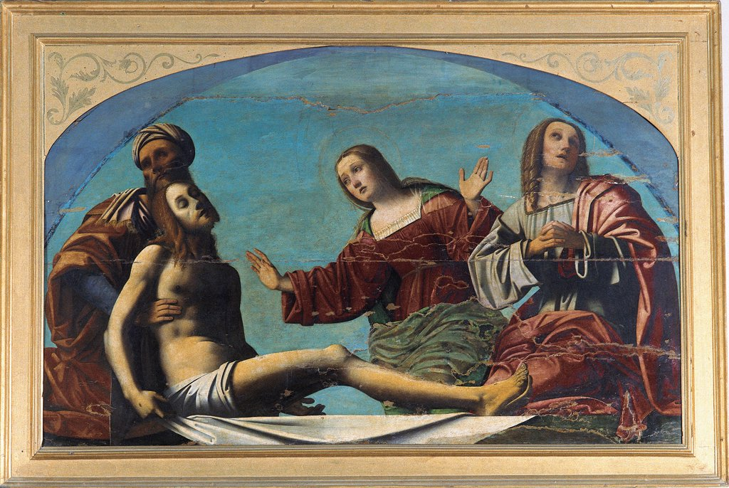Pieta - The Deposirion of Jesus Christ with St Joseph of Arimathea and St Mary Magdalene, by Benvenuti Giovanni Battista known as Ortolano, 15th Century, panel. Italy, Emilia Romagna, Ferrara, National Gallery of Art. Whole artwork. Pieta Dead Jesus Christ Jesus Christ mourning weeping grief: sorrow man Saint Joseph of Arimathea: Arimathaea old: aged man woman St Mary Magdalene Infant St John the Apostle light blue: azure red pink white gilded w. : Stock Photo