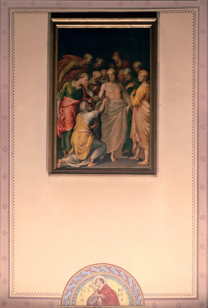 The Incredulity of St Thomas, by Campi Bernardino, 16th Century, oil on canvas. Italy, Lombardy, Gessate, Milan, Santi Pietro e Paolo church. Whole artwork. Jesus Christ wounds finger St Thomas incredulous Apostles: Disciples. : Stock Photo