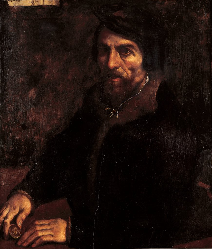Stock Photo: 1899-32586 Portrait of Bartolomeo Arese, by Campi Antonio, 1570 - 1580, 16th Century, oil on panel. Italy, Lombardy, Milan, Brera Art Gallery. Whole artwork. Man half-length portrait face beard hands dress: garment edging: hems fur.