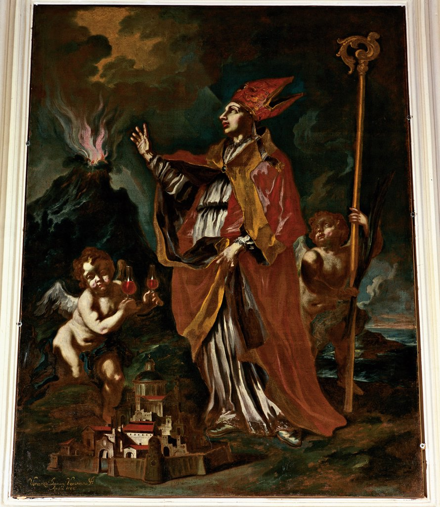 Stock Photo: 1899-32593 St Januarius, by Damini Vincenzo, 18th Century, canvas. Italy, Abruzzo, L'Aquila, Abruzzo National Museum. Whole artwork. Saint bishop Januarius mantle: cloak cope pastoral staff: crosier episcopal: bishop's miter: mitre Saint Patron Naples model city volcano eruption Vesuvius angels putti red yellow white black dim light: semi-darkness.