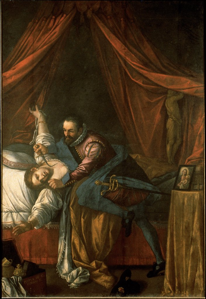 Stock Photo: 1899-32596 The Miracle of the Madonna of the Rosary (The Jealous Husband), by Damini Pietro, 17th Century, oil on canvas. Italy, Marche, Loreto, Ancona, Santa Casa Basilica. Whole artwork. Man uxoricide woman husband tailcoat gorget wife bed canopies pillow: cushion blankets drapery small table image Madonna murder dagger: knife.