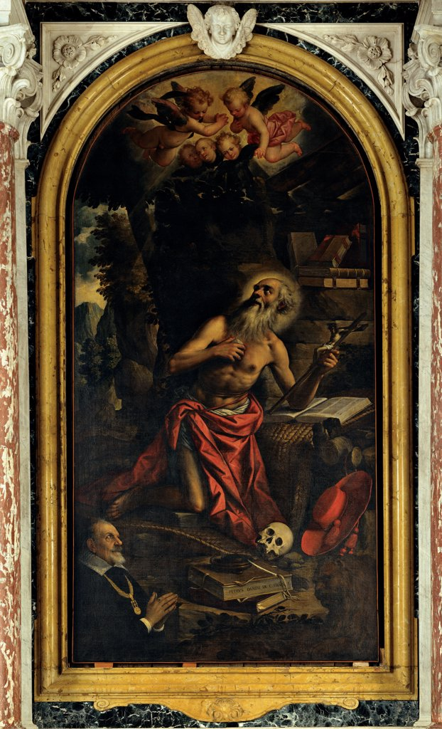 St Jerome Repentant with the Client Gerolamo Selvatico, by Damini Pietro, 1612, 17th Century, canvas. Italy, Veneto, Padua, Santa Maria Assunta Cathedral. Whole artwork. Arched altarpiece old: aged man Saint hermit St Jerome: Hieronymus writing desk book hat skull vanitas crucifix aureole: halo light patch sky clouds angels kneeling man joined hands client Gerolamo Selvatico red bla. : Stock Photo