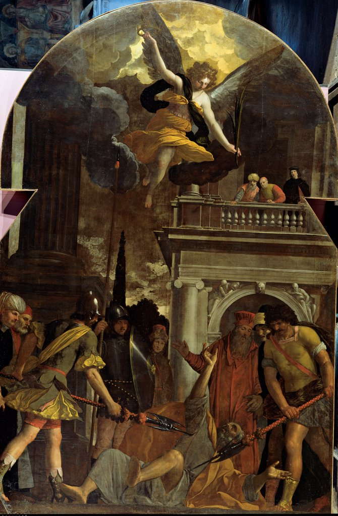 The Martyrdom of St Jude Thaddaeus, by Damini Pietro, 1625 - 1630, 17th Century, canvas. Italy, Veneto, Padua, San Gaetano Church. Whole artwork. Arched altarpiece Apostle St Jude Thaddaeus Martyrdom lances: spears soldiers cuirass helmet executioners murder: assassination building balcony balustrade: banister portico: porch: arcade arch sky clouds angel Palm o. : Stock Photo