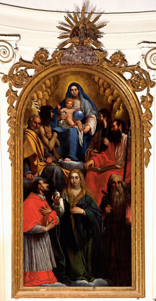 Madonna and Child with St John the Baptist, St Peter, St James, St Paul, St Carlo Borromeo, St Mary Magdalene and St Anthony the Abbot, by Damini Pietro, 1625, 17th Century, canvas. Italy, Veneto, Volpago del Montello, Treviso, Parish Church. Whole artwork. Madonna Virgin Mary Infant Jesus: Christ Child: Baby Jesus: Child Jesus globe Saints St John the Baptist St Peter St James St Paul Apostles: Disciples St Carlo Borromeo bishop cardinal St Mary Magdalene vase: pot urn. : Stock Photo