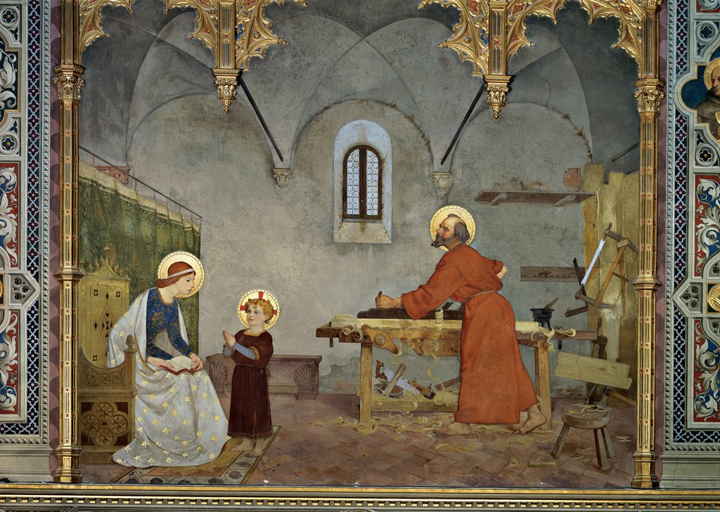 Stock Photo: 1899-32610 St Joseph at Work, by Faustini Modesto, 1887 - 1890, 19th Century, canvas. Italy, Marche, Loreto, Ancona, Spagnola Chapel. Whole artwork. Virgin Mary, Infant Jesus: Christ Child: Baby Jesus: Child Jesus con St Joseph at work in his carpenter's: joiner's shop. Tools, high-backed chair, arched window, vaulted interior, golden aureoles: halos, frame with g.