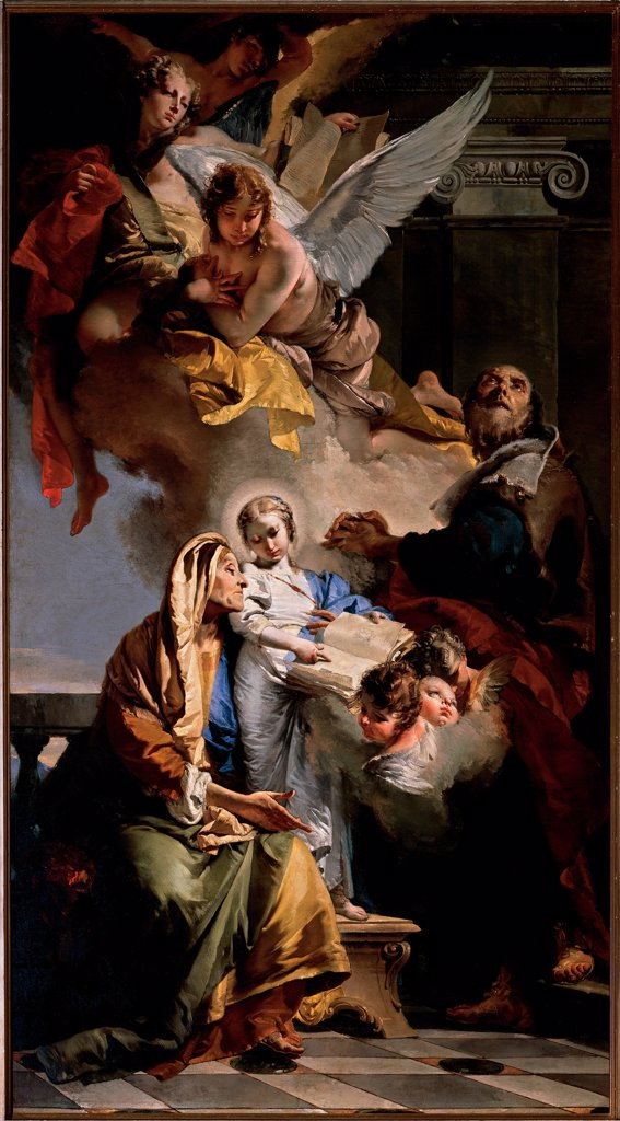 The Education of the Virgin Mary, by Tiepolo Giambattista, 1732, 18th Century, oil on canvas. Italy, Veneto, Venice, Santa Maria della Fava Church. Whole artwork. The Education: Upbringing of the Virgin Mary St Anne St Joachim angels clouds draperies colors architectural elements volutes: spiral scrolls: cartouches capital balustrade: banister stool light shade: shadow white bl. : Stock Photo