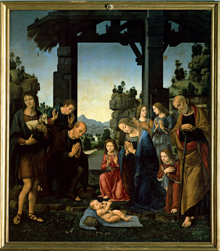 Stock Photo: 1899-32617 The Adoration of Christ, by Lorenzo di Credi, 15th Century, panel. Italy, Tuscany, Florence, Uffizi Gallery. Whole artwork. Adoration Baby Jesus: Christ Child: Child Jesus mother Madonna Virgin Mary father St Joseph men shepherds lamb offering angels kneeling cowshed straw pallets meadow flowers foreshortened view landscape blue red b.