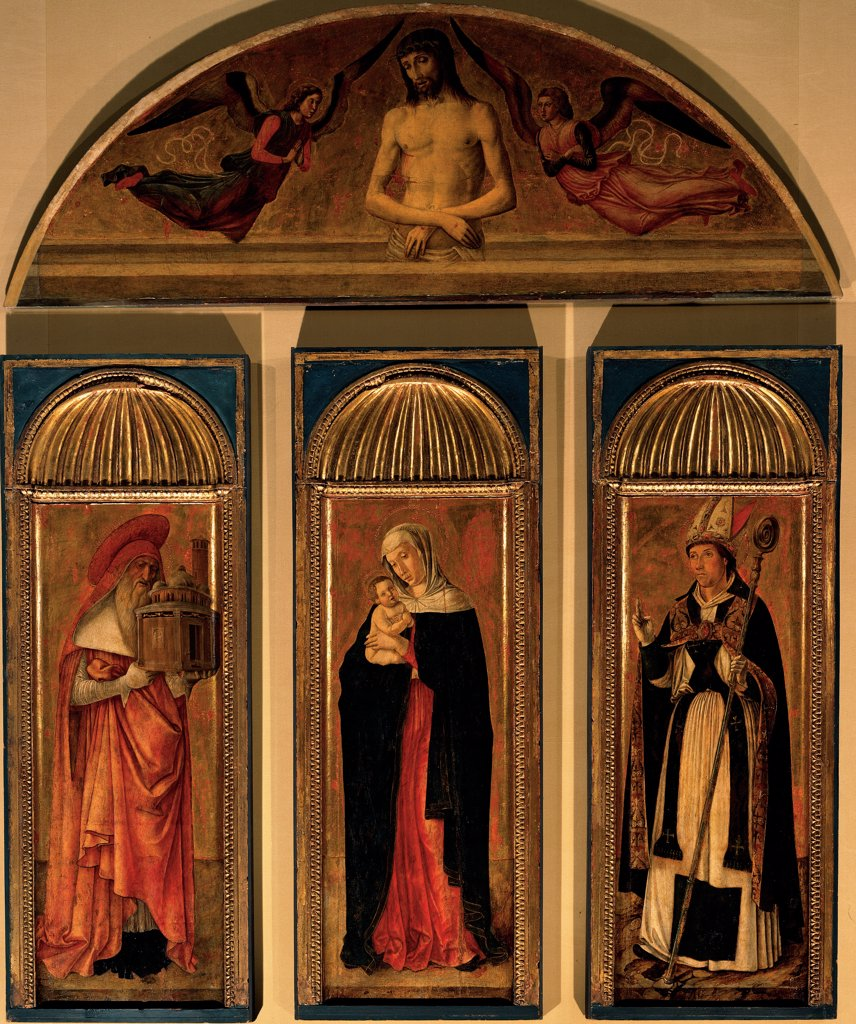 Triptych of the Virgin, by Bellini Giovanni, workshop Bellini Jacopo, 1460 - 1464, 15th Century, Unknow. Italy, Veneto, Venice, Accademia Art Galleries. Whole artwork. Triptych of the Madonna and Child cymatium: cimasa Jesus Christ angels St Jerome. : Stock Photo