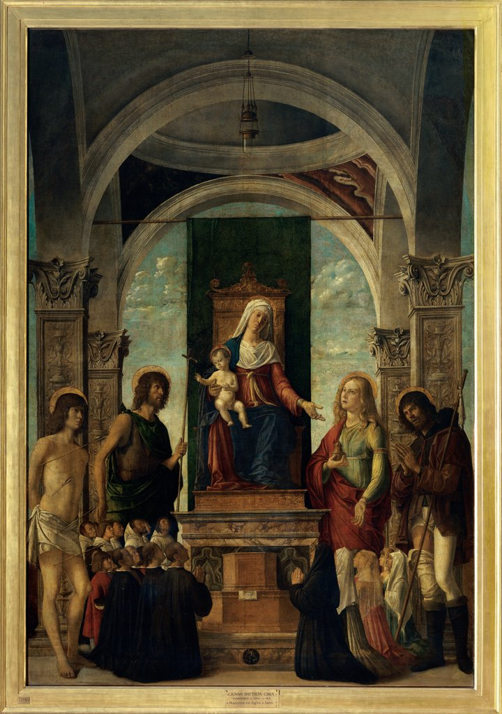 Stock Photo: 1899-32628 Madonna and Child Enthroned with St Sebastian, St John the Baptist, St Mary Magdalene, St Roch and members of the Confraternity kneeling, by Cima da Conegliano Giovanni Battista known as Cima da Conegliano, 1487 - 1489. 15th Century, tempera on board transferred to canvas. Italy, Lombardy, Milan, Brera Art gallery. Whole artwork. Madonna Enthroned Virgin Mary Child Jesus: Baby Jesus: Christ Child Classical building arches drum dome men women kneeling members of the confraternity saints St Sebast