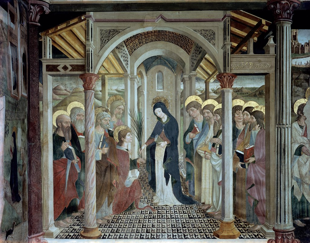 Stock Photo: 1899-32629 The Announcement of the Death of the Virgin Mary, by Delitio Andrea, 1481, 15th Century, fresco. Italy, Abruzzo, Atri, Teramo, Cathedral. Whole artwork. Virgin Mary Madonna announcement men group Apostles halos: aureoles martyr's palm-leaf temple columns coffered ceiling wooden beams pavement perspective white blue pink red.