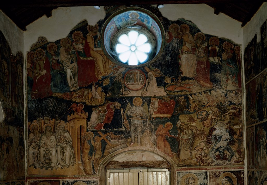Stock Photo: 1899-32639 The Last Judgment, by Frescante meridionale, 1400 - 1425, 15th Century, fresco. Italy, Puglia, Soleto, Lecce, Santo Stefano Church. Whole artwork. Counter facade rose window fresco Last Judgment small figures saints angels Biblical characters souls the Blessed the Damned.